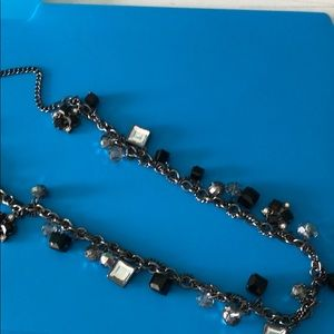 "38"" necklace gun metal chain, black & clear beads"